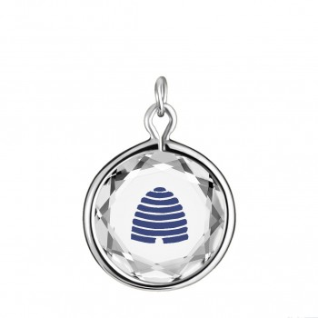 Popular Symbols Charm: Beehive-Utah in White Crystal & Dark Blue Enameled Engraving