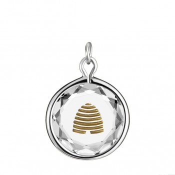 Popular Symbols Charm: Beehive-Utah in White Crystal & Gold Enameled Engraving