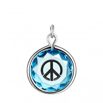 Popular Symbols Charm: Peace Sign in Blue Crystal & Black Enameled Engraving
