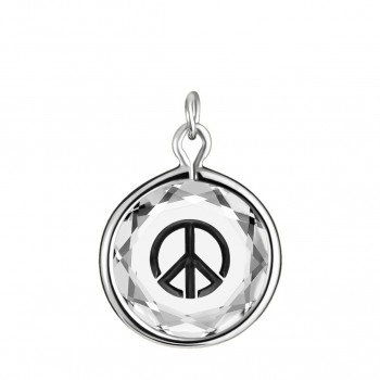 Popular Symbols Charm: Peace Sign in White Crystal & Black Enameled Engraving