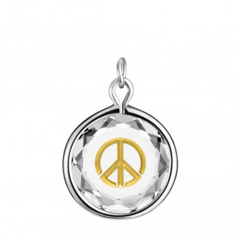 Popular Symbols Charm: Peace Sign in White Crystal & Gold Enameled Engraving