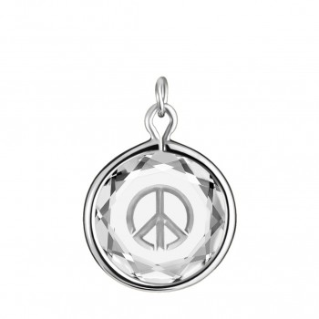 Popular Symbols Charm: Peace Sign in White Crystal & Metallic Enameled Engraving