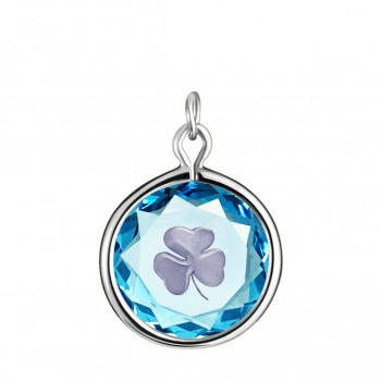 Popular Symbols Charm: Shamrock in Blue Crystal & Metallic Enameled Engraving