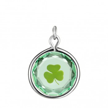 Popular Symbols Charm: Shamrock in Green Crystal & Green Enameled Engraving