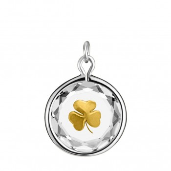 Popular Symbols Charm: Shamrock in White Crystal & Gold Enameled Engraving