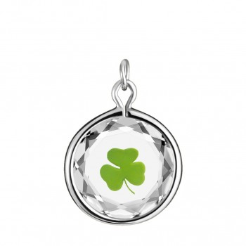 Popular Symbols Charm: Shamrock in White Crystal & Green Enameled Engraving