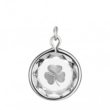Popular Symbols Charm: Shamrock in White Crystal & Metallic Enameled Engraving