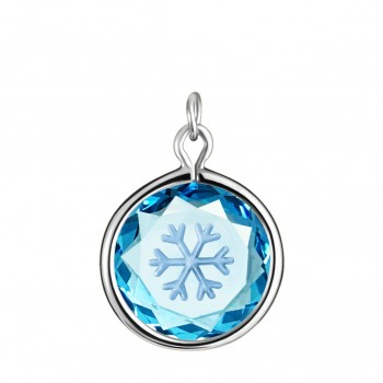 Popular Symbols Charm: Snowflake in Blue Crystal & Metallic Enameled Engraving