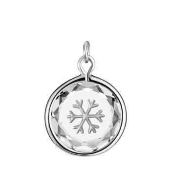 Popular Symbols Charm: Snowflake in White Crystal & Metallic Enameled Engraving