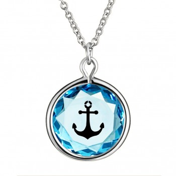 Popular Symbols Pendant: Anchor in Blue Crystal & Black Enameled Engraving