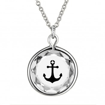 Popular Symbols Pendant: Anchor in White Crystal & Black Enameled Engraving