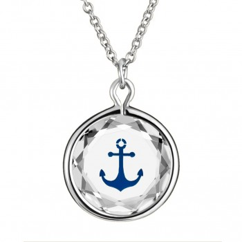 Popular Symbols Pendant: Anchor in White Crystal & Dark Blue Enameled Engraving