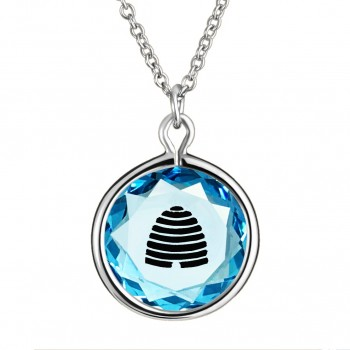 Popular Symbols Pendant: Beehive-Utah in Blue Crystal & Black Enameled Engraving