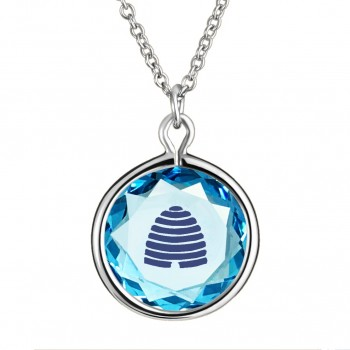 Popular Symbols Pendant: Beehive-Utah in Blue Crystal & Dark Blue Enameled Engraving