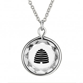 Popular Symbols Pendant: Beehive-Utah in White Crystal & Black Enameled Engraving