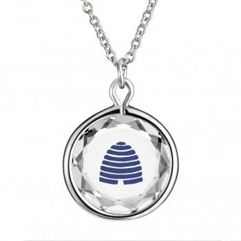 Popular Symbols Pendant: Beehive-Utah in White Crystal & Dark Blue Enameled Engraving