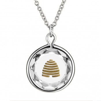 Popular Symbols Pendant: Beehive-Utah in White Crystal & Gold Enameled Engraving