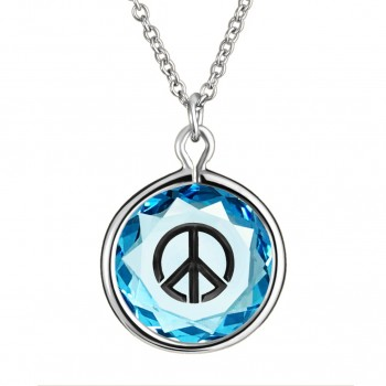 Popular Symbols Pendant: Peace Sign in Blue Crystal & Black Enameled Engraving