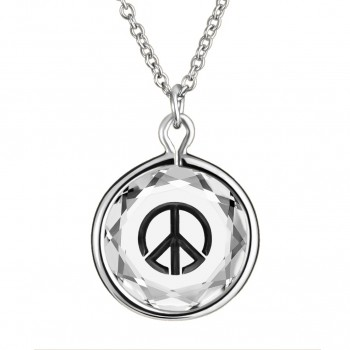 Popular Symbols Pendant: Peace Sign in White Crystal & Black Enameled Engraving