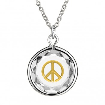 Popular Symbols Pendant: Peace Sign in White Crystal & Gold Enameled Engraving