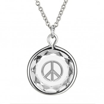 Popular Symbols Pendant: Peace Sign in White Crystal & Metallic Enameled Engraving