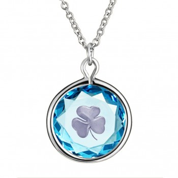 Popular Symbols Pendant: Shamrock in Blue Crystal & Metallic Enameled Engraving