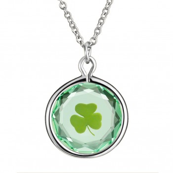 Popular Symbols Pendant: Shamrock in Green Crystal & Green Enameled Engraving