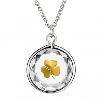 Popular Symbols Pendant: Shamrock in White Crystal & Gold Enameled Engraving