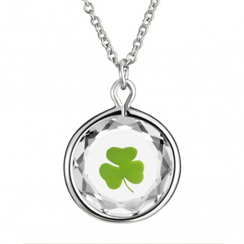 Popular Symbols Pendant: Shamrock in White Crystal & Green Enameled Engraving