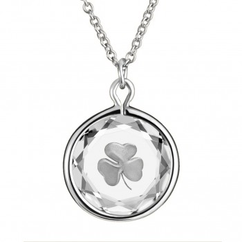 Popular Symbols Pendant: Shamrock in White Crystal & Metallic Enameled Engraving