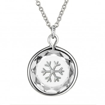 Popular Symbols Pendant: Snowflake in White Crystal & Metallic Enameled Engraving