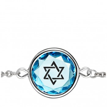 Spiritual Bracelet: Star of David in Blue Crystal & Black Enameled Engraving
