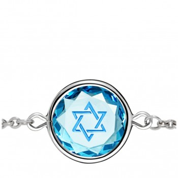 Spiritual Bracelet: Star of David in Blue Crystal & Medium Blue Enameled Engraving