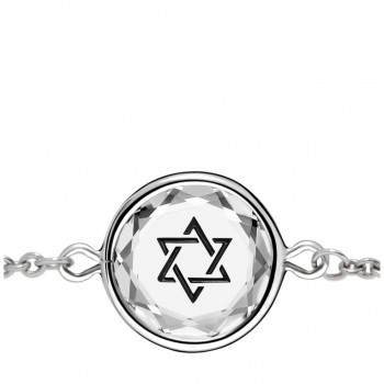 Spiritual Bracelet: Star of David in White Crystal & Black Enameled Engraving