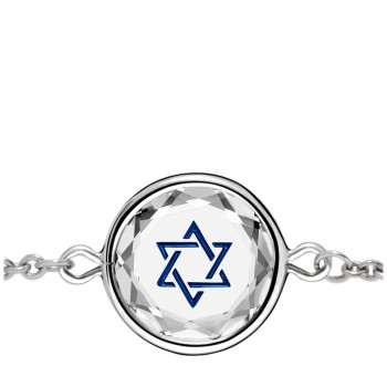 Spiritual Bracelet: Star of David in White Crystal & Dark Blue Enameled Engraving