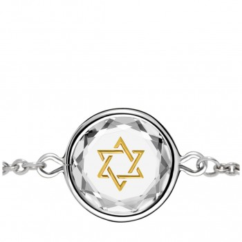 Spiritual Bracelet: Star of David in White Crystal & Gold Enameled Engraving