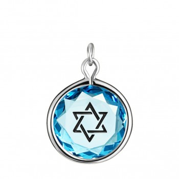 Spiritual Charm: Star of David in Blue Crystal & Black Enameled Engraving