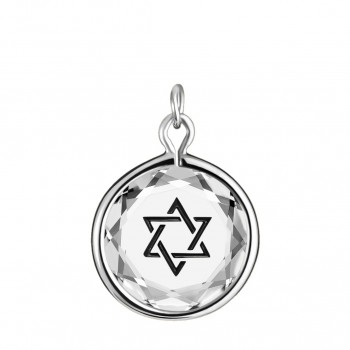 Spiritual Charm: Star of David in White Crystal & Black Enameled Engraving