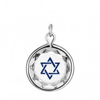 Spiritual Charm: Star of David in White Crystal & Dark Blue Enameled Engraving