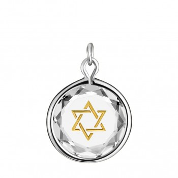 Spiritual Charm: Star of David in White Crystal & Gold Enameled Engraving