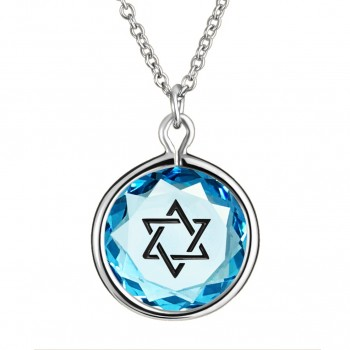 Spiritual Pendant: Star of David in Blue Crystal & Black Enameled Engraving