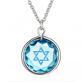 Spiritual Pendant: Star of David in Blue Crystal & Medium Blue Enameled Engraving