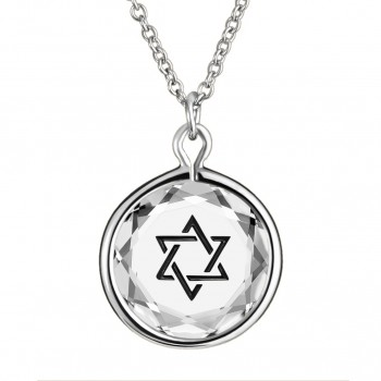 Spiritual Pendant: Star of David in White Crystal & Black Enameled Engraving