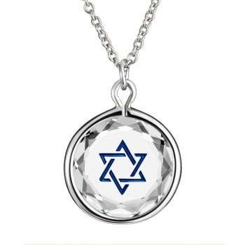 Spiritual Pendant: Star of David in White Crystal & Dark Blue Enameled Engraving
