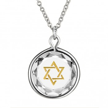 Spiritual Pendant: Star of David in White Crystal & Gold Enameled Engraving