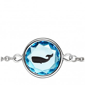 Wildlife Bracelet: Whale in Blue Crystal & Black Enameled Engraving