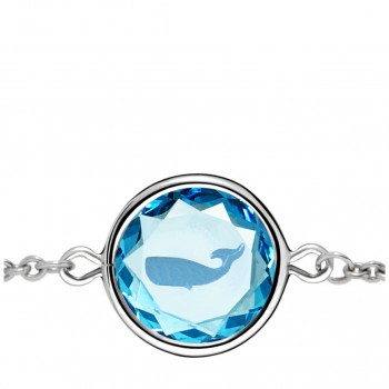 Wildlife Bracelet: Whale in Blue Crystal & Medium Blue Enameled Engraving