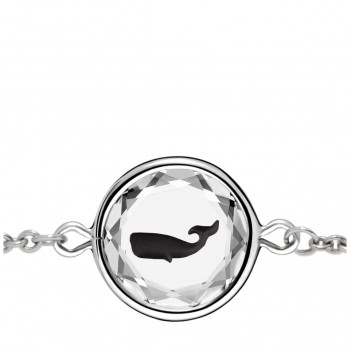 Wildlife Bracelet: Whale in White Crystal & Black Enameled Engraving