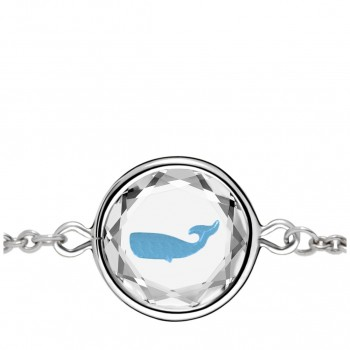 Wildlife Bracelet: Whale in White Crystal & Medium Blue Enameled Engraving