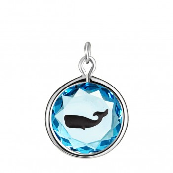 Wildlife Charm: Whale in Blue Crystal & Black Enameled Engraving